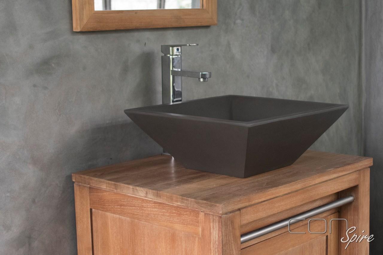 Square Cone Dark Grey Cement Basin