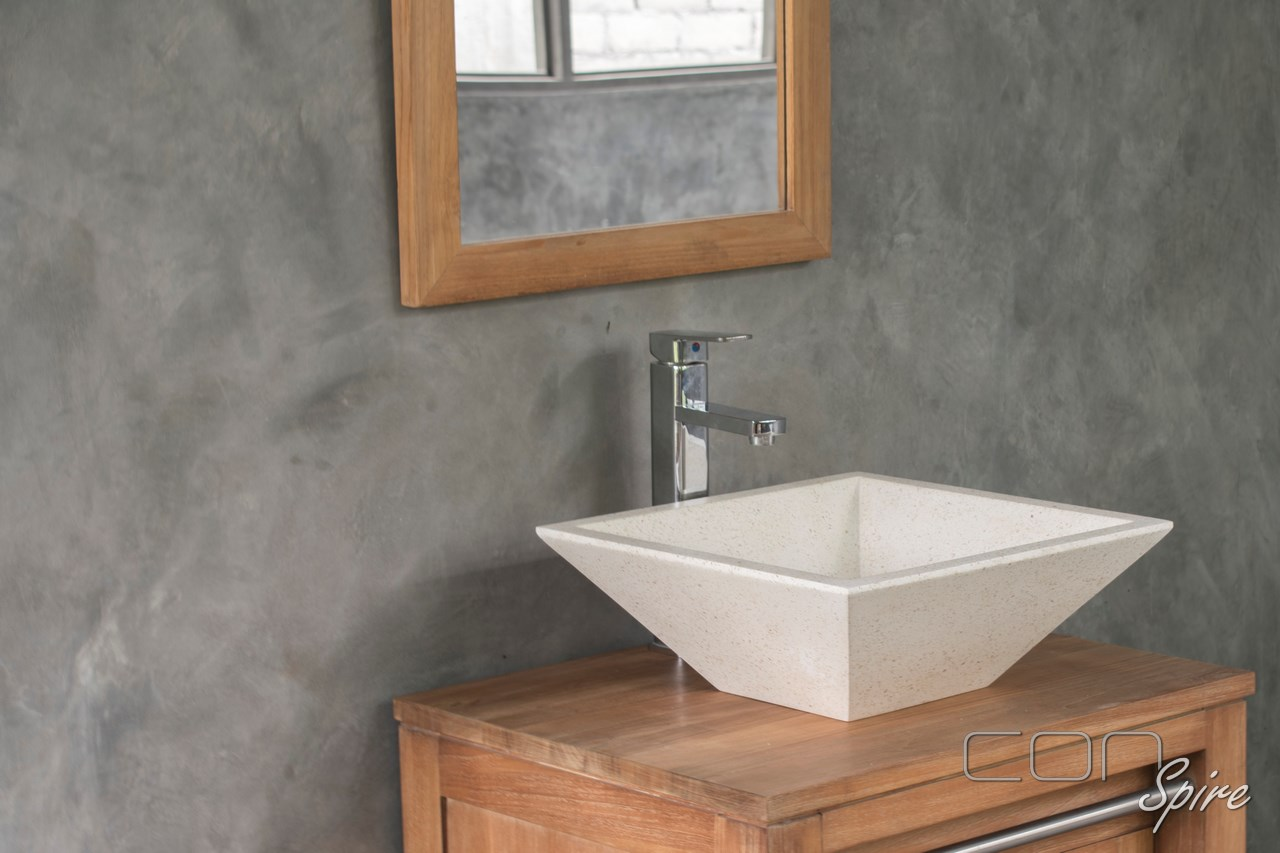 Square Cone White Terrazzo Sink