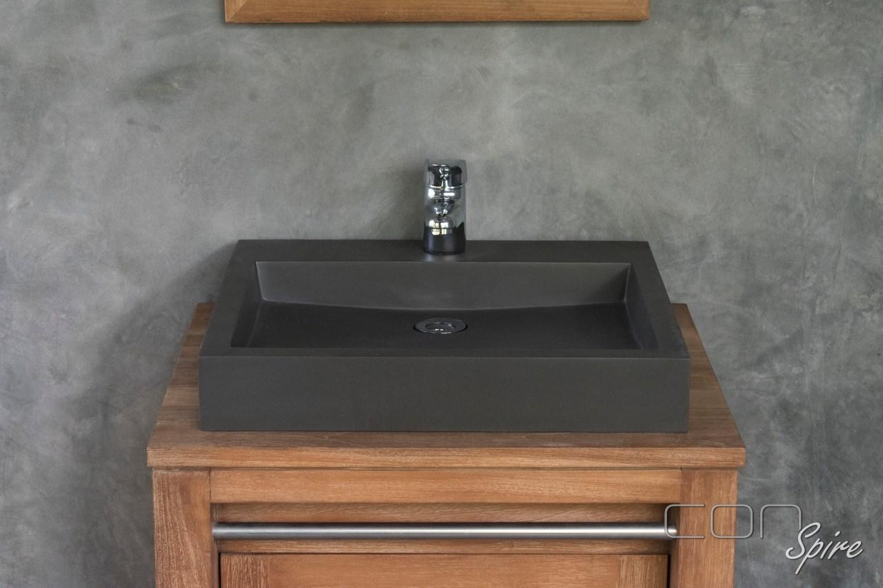 Dark Grey Cement Composite Rectangular Sink