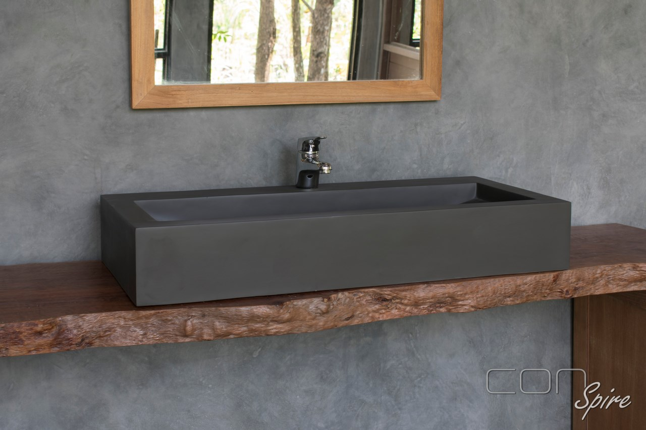 Large Grey Cement Rectangular Sink