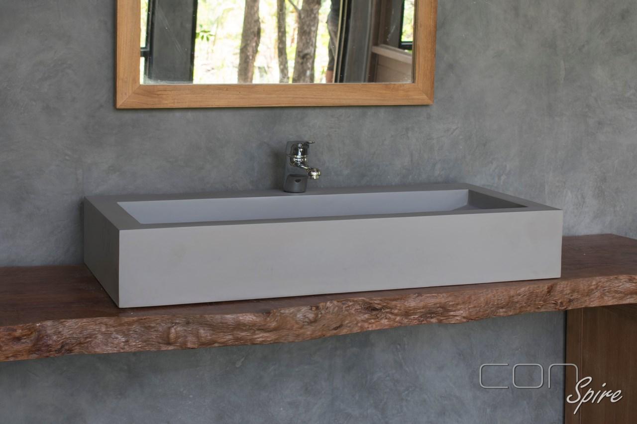 Large Light Grey Granito Rectangular Sink