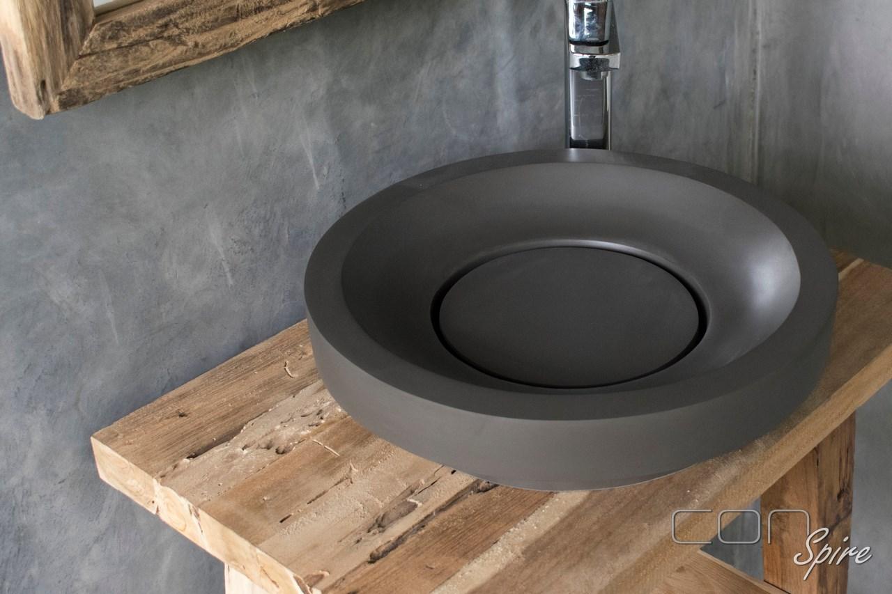 Round Cement Basin Dark Grey Indonesia