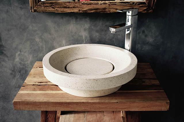 Napoli White Design Hand Crafted Terrazzo Basin
