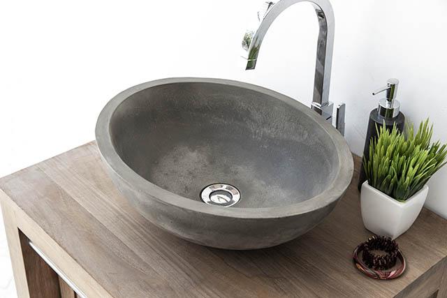 Luca Oval Shaped Concrete Bathroom Basin