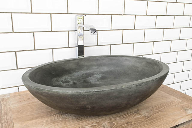 Luca Grande light grey cast concrete bathroom sink basin