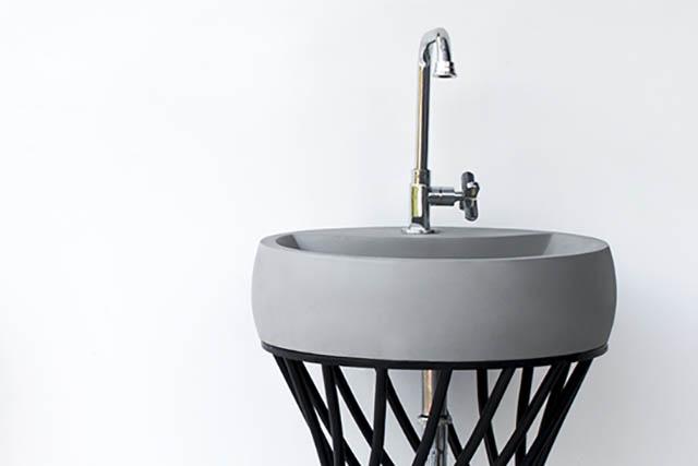 Conspire Twin Round Modern Cast Concrete Sink